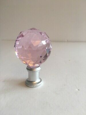 40Mm  Pink  Crystal Ball & Silver Lamp Finial