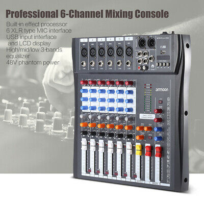 60S-USB 6 canali mic audio mixer Mixing Console 3-band EQ USB ingresso XLR A6B7