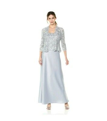 d5089d4ebd89 Alex Evenings Silver Sequined Lace Dress Evening Gown w/Jacket - Size 18  NWT!
