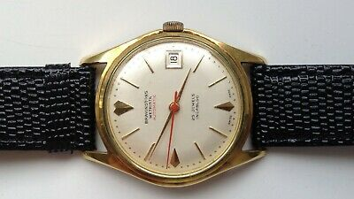 19e035de7d29 Mens Vintage Bravingtons Wetrista Automatic 25J Gold Plated Swiss Calendar  Watch