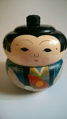 Vintage Japanese Kokeshi Lacquered Hand-Painted Bento Box~Lacquer on Wood