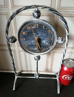Rare Antique Metal Clock with Standing Frame/Holder.Damaged.H-33x21cm,W-550g