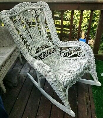 Antique Possible Heywood Wakefield Rocking Chair White Wicker Victorian