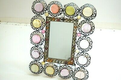 """Vintage Hollywood Regency Style Vanity Mirror With Beads And Prisms 15"""" X 12"""""""