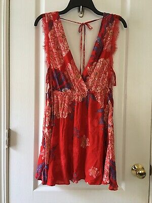 c380ffa41dc9 NWT Free People Marnie Printed Floral Lace Trim Slip Dress In Red C Size S