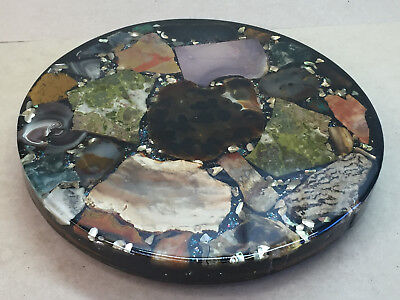 MCM Handmade Lucite Lazy Susan With Rock Slabs & Mother of Pearl Filled Acrylic