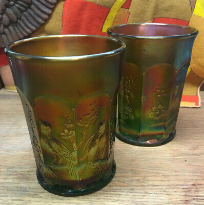 """Gorgeous Vintage Set of 2 Northwood Carnival Glass Singing Birds 4"""" Tumblers WOW"""