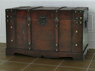 Old World Vintage Retro Look Wooden Treasure Trunk Storage Box Cabinet Chest