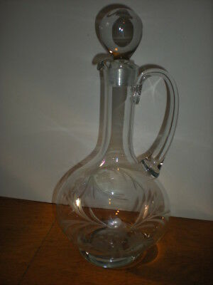 1800's Victorian Wine Decanter Heavy Ball Stopper Etched Glass Flowers Antique