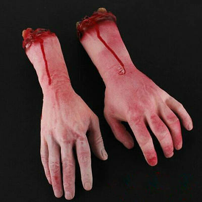 US 2Pcs Bloody Horror Scary Halloween Prop Fake Severed Arm Hand Haunted House