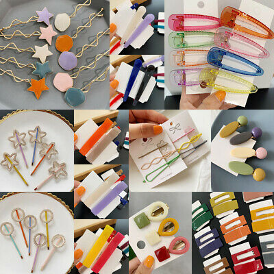 Fashion Women Candy Color Hair Clip Snap Barrette Stick Hairpin Hair Accessories