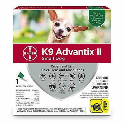 K9 Advantix II for Small Dogs 4-10 lbs, 1 Month Supply (no box)