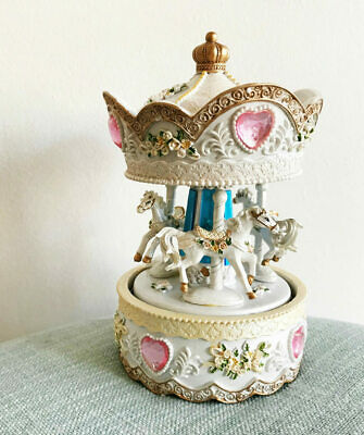Musical Carousel, Pink Hearts, Horses