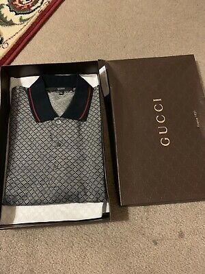 19a5a9353 MENS GUCCI GG Logo Print Short Sleeve Authentic Italy Polo Shirt ...