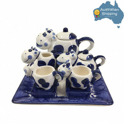 10pc Miniature Tea set Blue & White Cow Ceramic Collectable