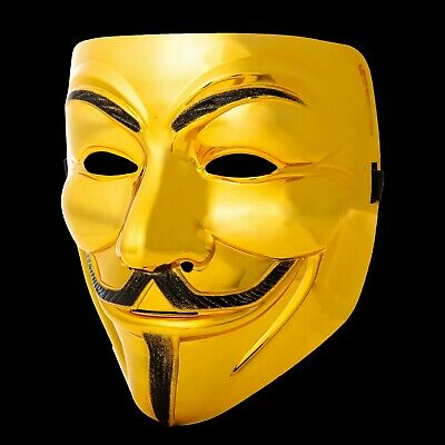 5 Oro Guy Fawkes Anonymous Máscaras Hacker V For Vendetta Halloween UK