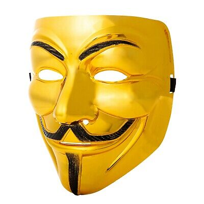 1 Gold Guy Fawkes Anonymous Máscara Hacker V For Vendetta Halloween UK