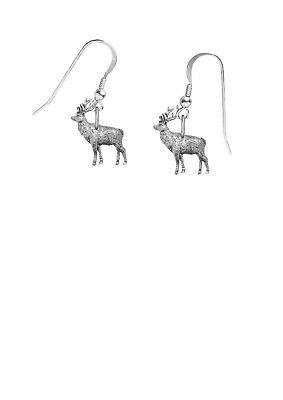 Pewter stag on hook Earrings sterling silver 925  jewellery Codeppa19