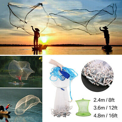 8/12/16ft 4.8m Fishing Net Bait Easy Throw Hand Cast Strong Nylon Mesh Sinker UK