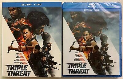 New Triple Threat Blu Ray Dvd 2 Disc Set + Slipcover Sleeve Free World Shipping