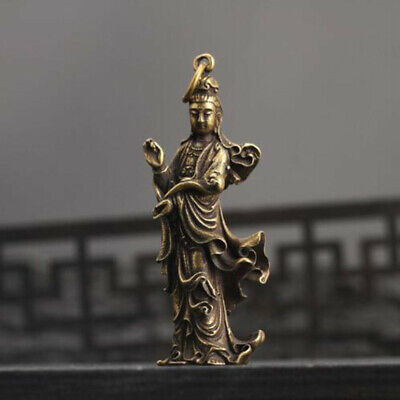 Old Collection Chinese Handwork Brass Guanyin Bodhisattva Pocket Statue 1pcs