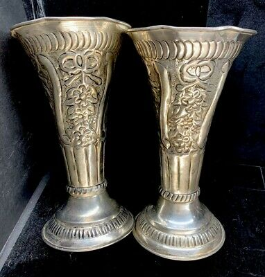 2 Pair Old Victorian Antique/Vintage Silver Plated Flower VASES Urns Cups Ornate