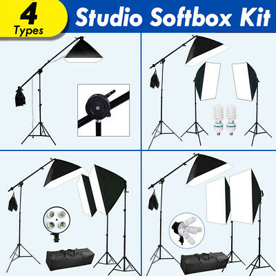4Types Softbox Soft Box Boom Arm Continuous Lighting Hold Kit Photography Studio