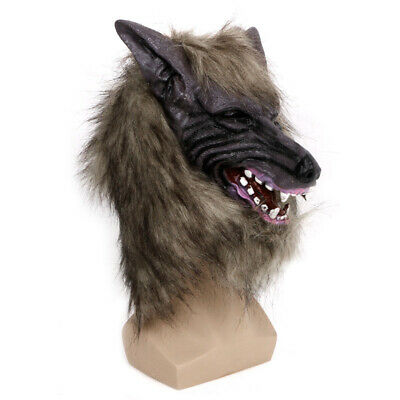 Halloween Scary Latex Animal Wolf Head With Hair Mask Fancy Dress Costume Party