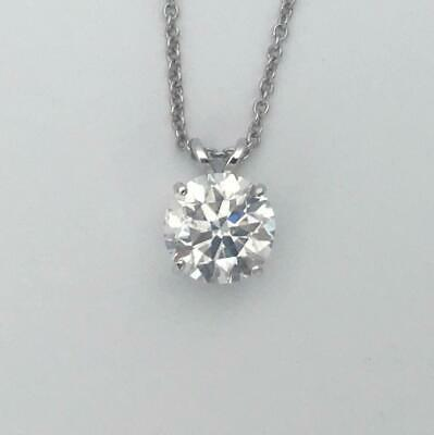 1 CT Carat D VS2 REAL NATURAL DIAMOND SOLITAIRE PENDANT NECKLACE 14K WHITE GOLD