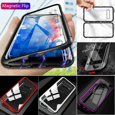 360 Magnetic Adsorption Metal Case For Samsung Galaxy S10+ Tempered Glass Cover