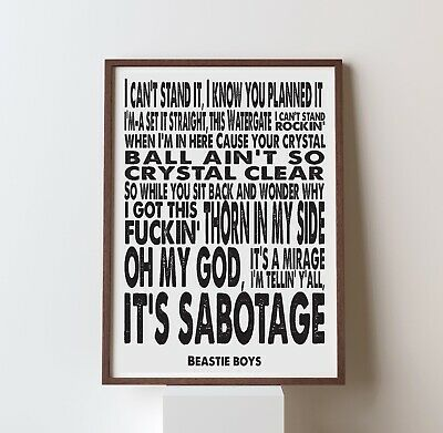 poster quote Because you can/'t you won/'t and you don/'t stop Beastie Boys