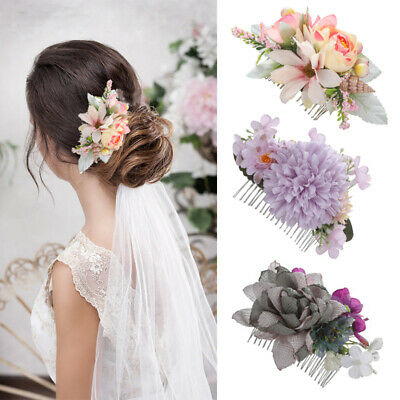 Boho Women's Flower Hair Comb Pins Slide Bridal Wedding Flower Hair Comb Wedding