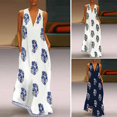 ZANZEA Womens Summer Casual Floral Sleeveless Dress Ladies Sundress Maxi Dresses