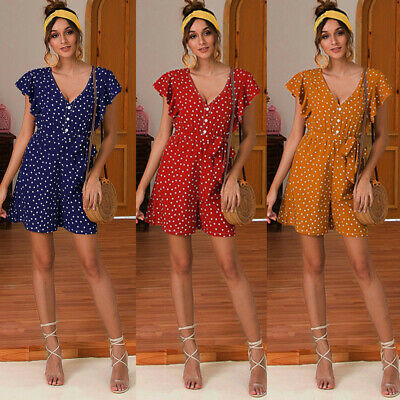 Boho Ladies Jumpsuit Ruffle Sleeve Summer Strappy Holiday Playsuit Beach V-neck
