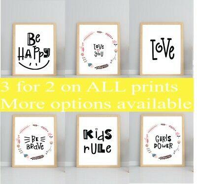 Wall Quote Print Nursery Scandi Stay Wild Child Baby Kids Family Gift *3for2*