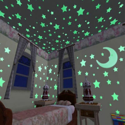 100Glow Stars And 1 Moon In The Dark Star Plastic Stickers Ceiling Wall Bedroom