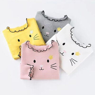 Casual Kids Baby Girls Clothes Wave Collar Long Sleeve Bottoming T-shirt Tops