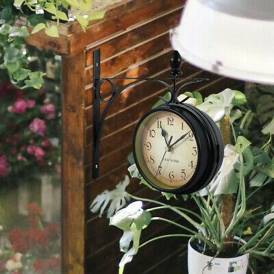 Outdoor Garden Gentral Station Wall Clock Double Sided Outside Bracket Vintage