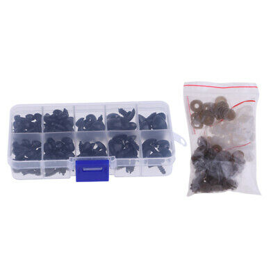 130 Pieces Black Plastic Safety Noses Washers for Teddy Bear Doll DIY Making