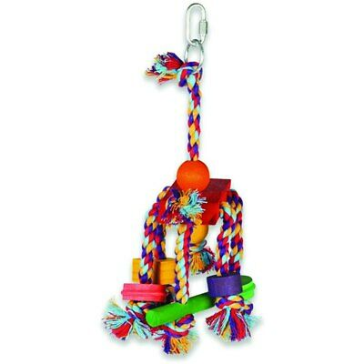 Fiesta Wooden Shapes and Rope Preening Parrot Toy