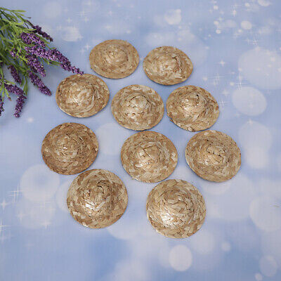 10 Pieces Straw Hat Mini Doll Hat Ornament Strawhat Craft For Salon Doll #1