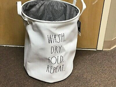 Rae Dunn Small Collapsible Laundry Hamper White Wash Dry Fold Repeat New Release