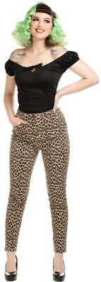 Collectif 50s Style Maddy Leopard Skinny Denim Jeans