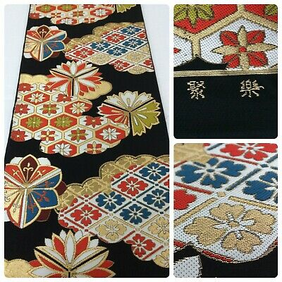 Japanese fukuro obi for kimono, for women, silk, embroided,Japan import (AB2620)