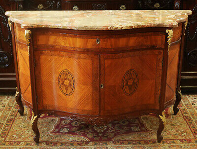 Great Gilded Burled Walnut Marble Top French Serpentine Commode Buffet Sideboard