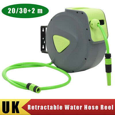 Retractable Water Hose Reel Garden Plants Pipe Hosepipe Wall mounted 20m/30m+2m