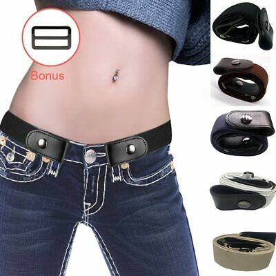 Invisible Buckle-free Belt for Jeans No Bulge No Hassle Genuine Leather Elastic