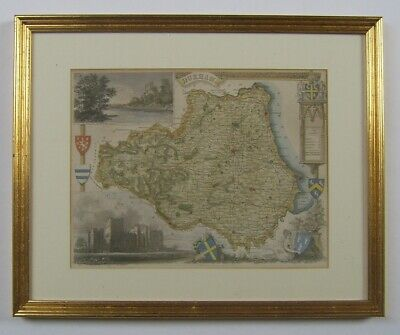 County Durham: antique map by T.Moule, c1836