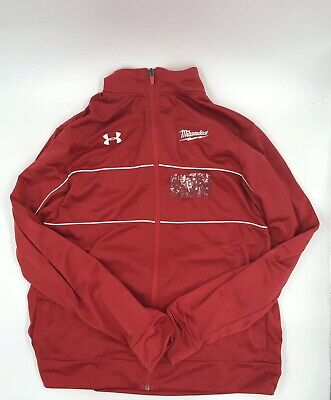 7844551d Mens Under Armour Milwaukee Tools WarmUp Shirt Jersey Red Long Sleeve Size L