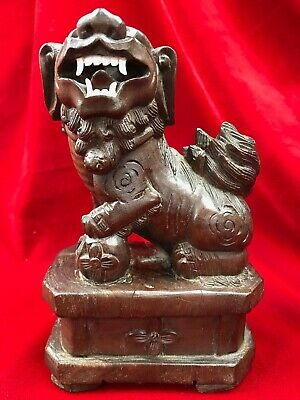 Antique Carved Wood Chinese Foo Dog White Teeth Glass Eyes Rolling Ball in Mouth